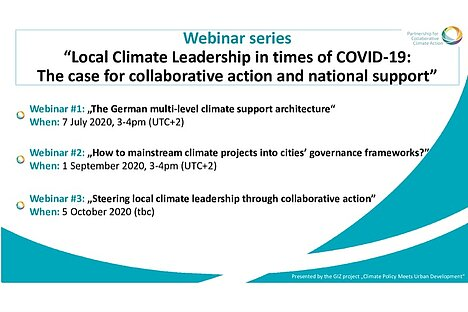 Series of virtual events on local climate leadership in times of COVID-19